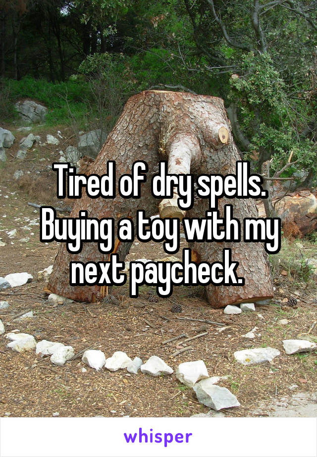 Tired of dry spells. Buying a toy with my next paycheck.