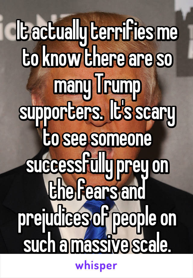It actually terrifies me to know there are so many Trump supporters.  It's scary to see someone successfully prey on the fears and prejudices of people on such a massive scale.