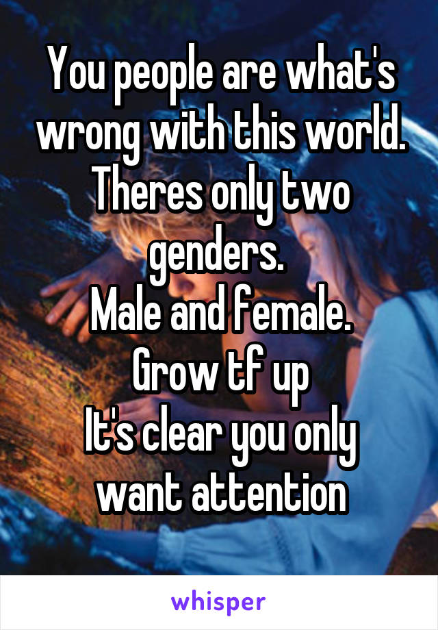 You people are what's wrong with this world. Theres only two genders.  Male and female. Grow tf up It's clear you only want attention