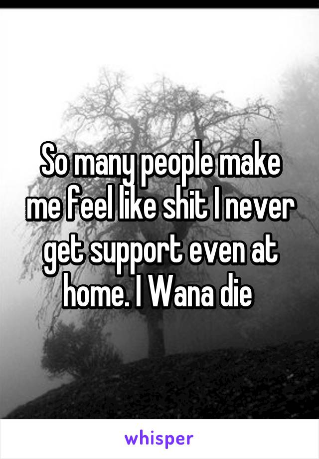 So many people make me feel like shit I never get support even at home. I Wana die