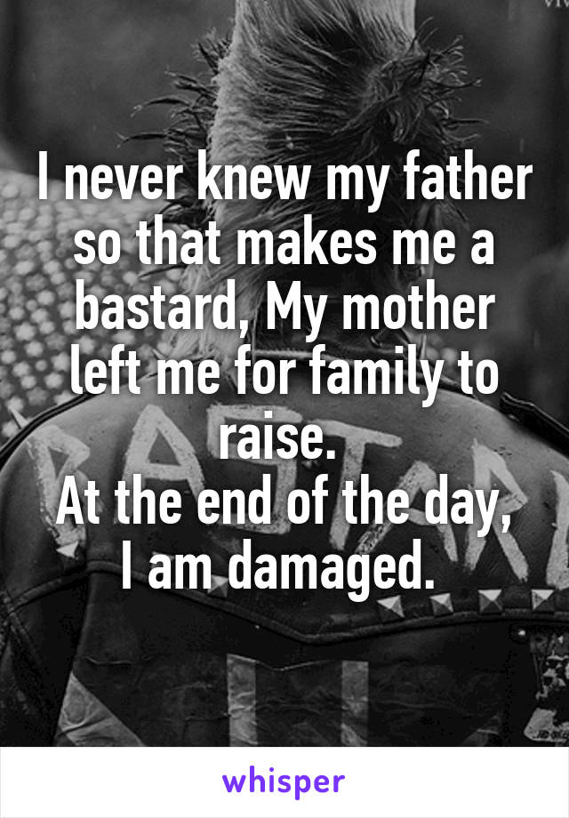 I never knew my father so that makes me a bastard, My mother left me for family to raise.  At the end of the day, I am damaged.