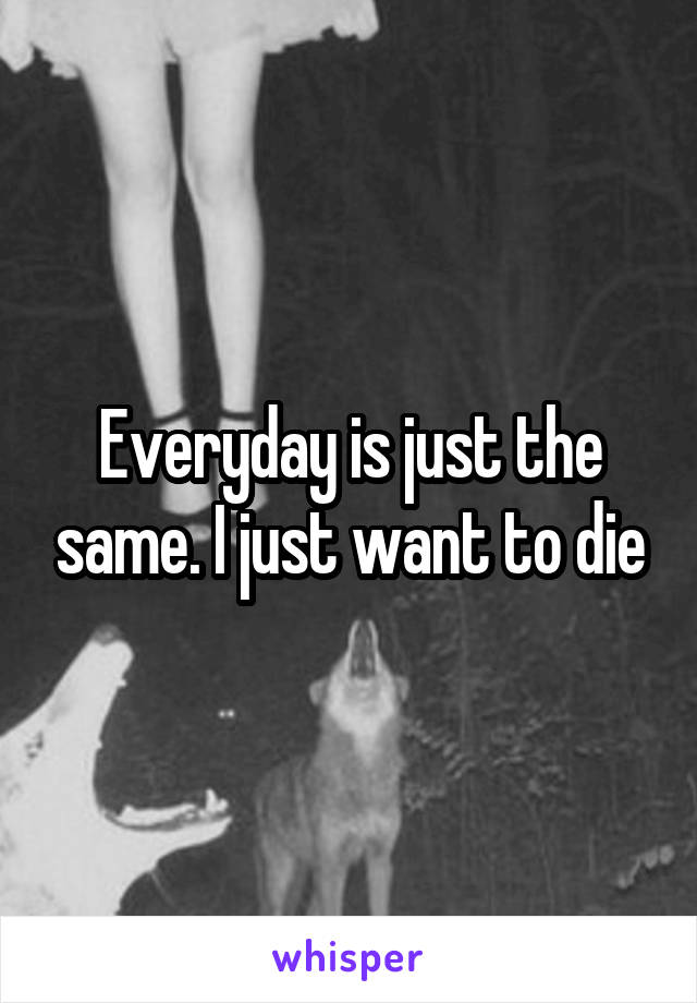 Everyday is just the same. I just want to die