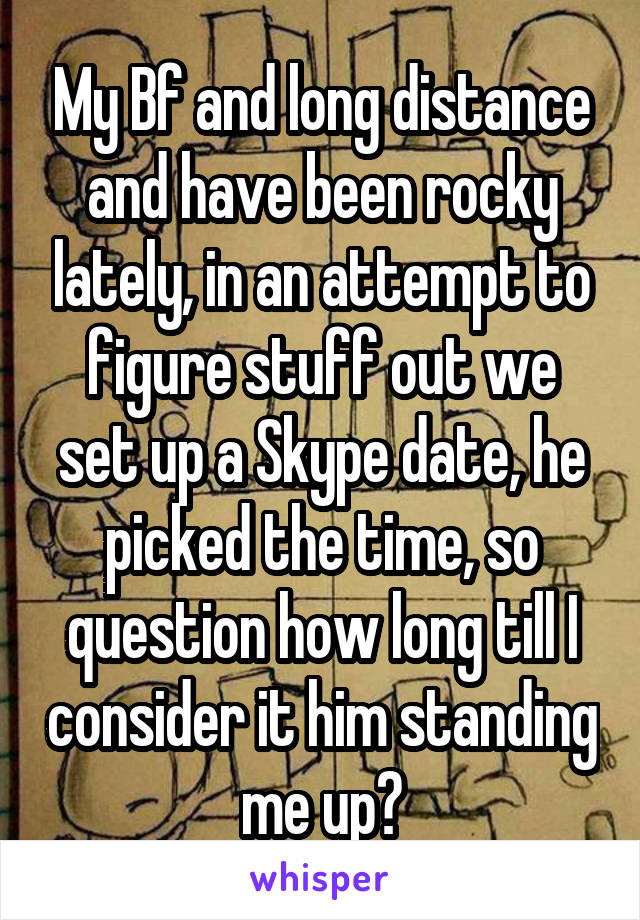 My Bf and long distance and have been rocky lately, in an attempt to figure stuff out we set up a Skype date, he picked the time, so question how long till I consider it him standing me up?