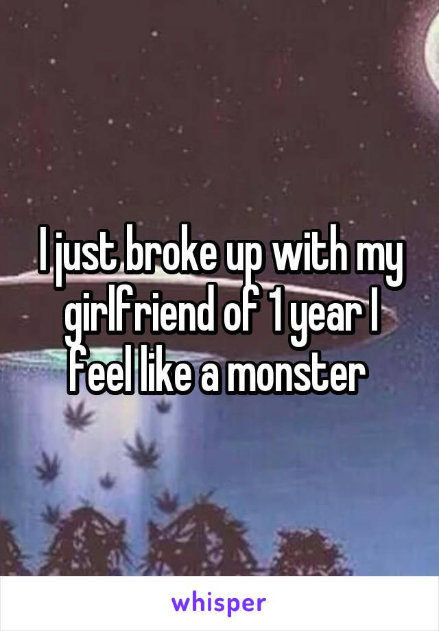 I just broke up with my girlfriend of 1 year I feel like a monster