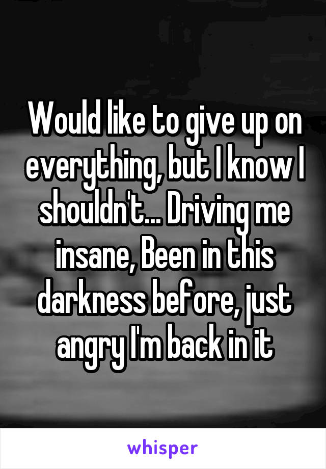 Would like to give up on everything, but I know I shouldn't... Driving me insane, Been in this darkness before, just angry I'm back in it