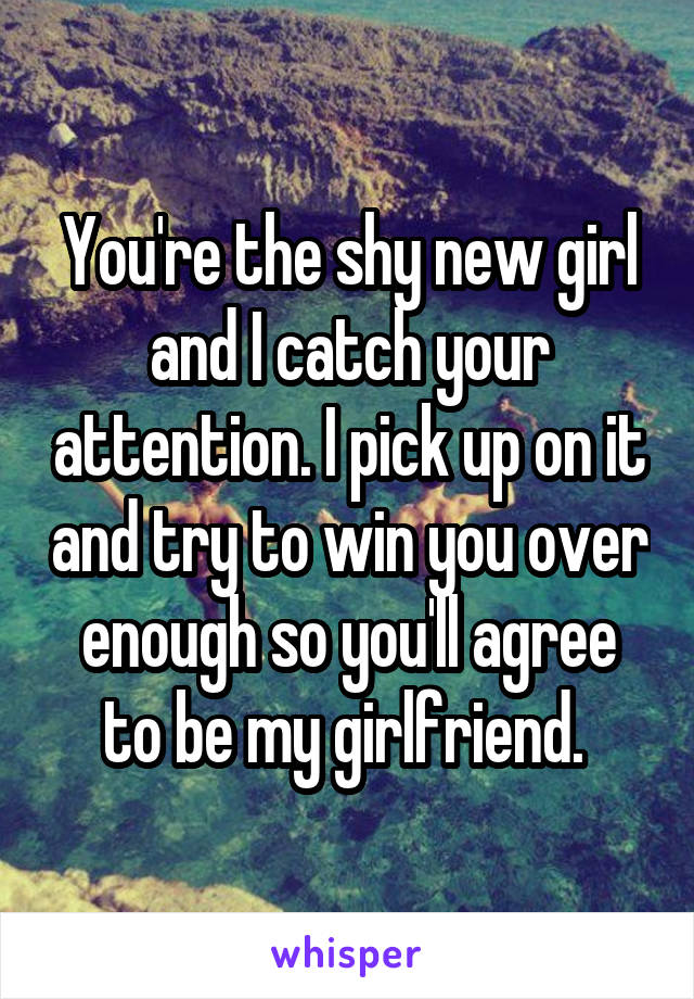 You're the shy new girl and I catch your attention. I pick up on it and try to win you over enough so you'll agree to be my girlfriend.