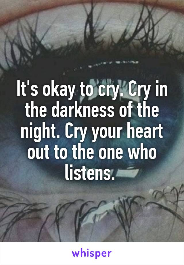 It's okay to cry. Cry in the darkness of the night. Cry your heart out to the one who listens.