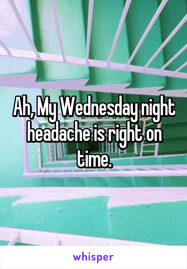 Ah, My Wednesday night headache is right on time.