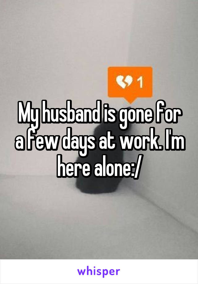 My husband is gone for a few days at work. I'm here alone:/