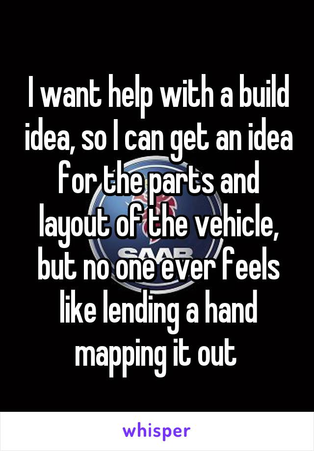 I want help with a build idea, so I can get an idea for the parts and layout of the vehicle, but no one ever feels like lending a hand mapping it out