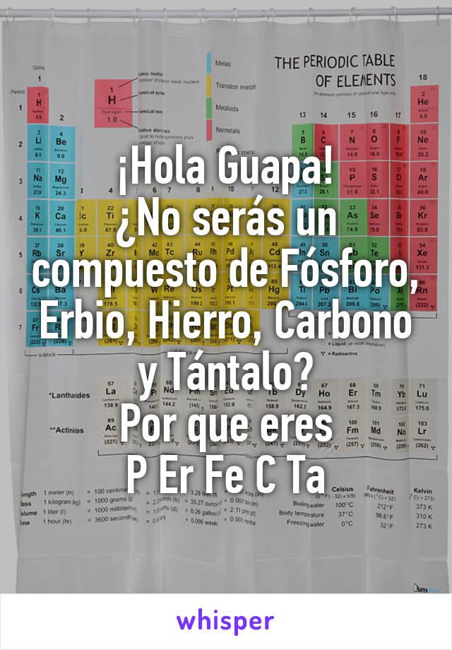 ¡Hola Guapa! ¿No serás un compuesto de Fósforo, Erbio, Hierro, Carbono y Tántalo? Por que eres P Er Fe C Ta