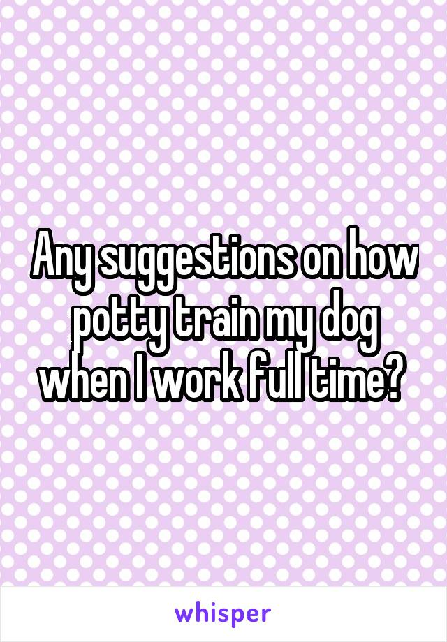 Any suggestions on how potty train my dog when I work full time?
