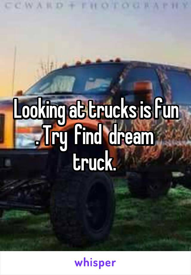 Looking at trucks is fun . Try  find  dream  truck.