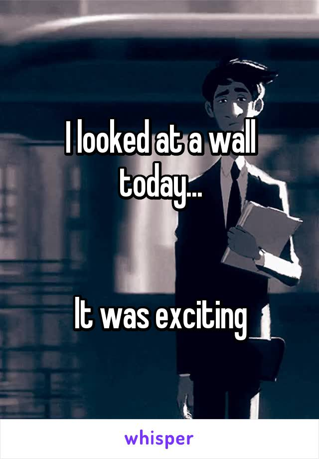 I looked at a wall today...   It was exciting