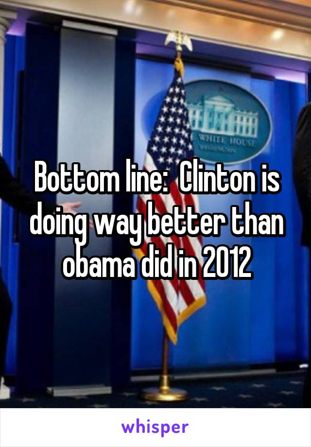 Bottom line:  Clinton is doing way better than obama did in 2012