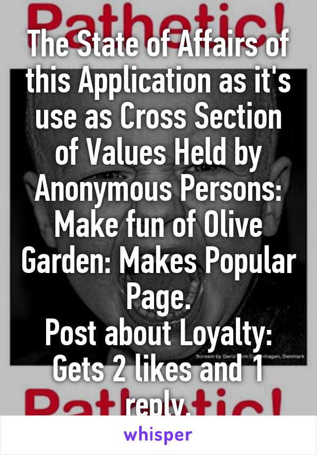 The State of Affairs of this Application as it's use as Cross Section of Values Held by Anonymous Persons: Make fun of Olive Garden: Makes Popular Page. Post about Loyalty: Gets 2 likes and 1 reply.