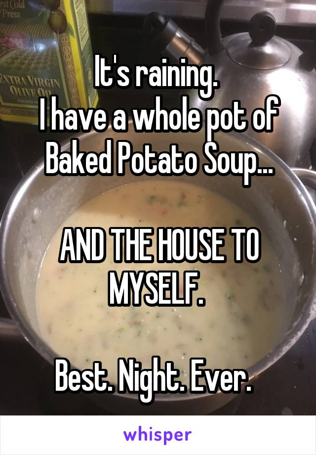 It's raining.  I have a whole pot of Baked Potato Soup...  AND THE HOUSE TO MYSELF.   Best. Night. Ever.