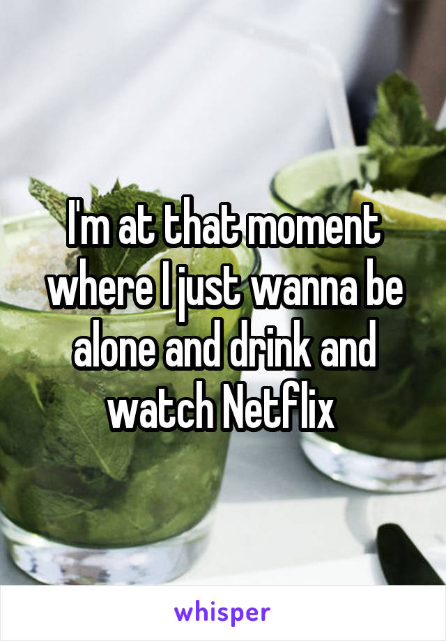 I'm at that moment where I just wanna be alone and drink and watch Netflix