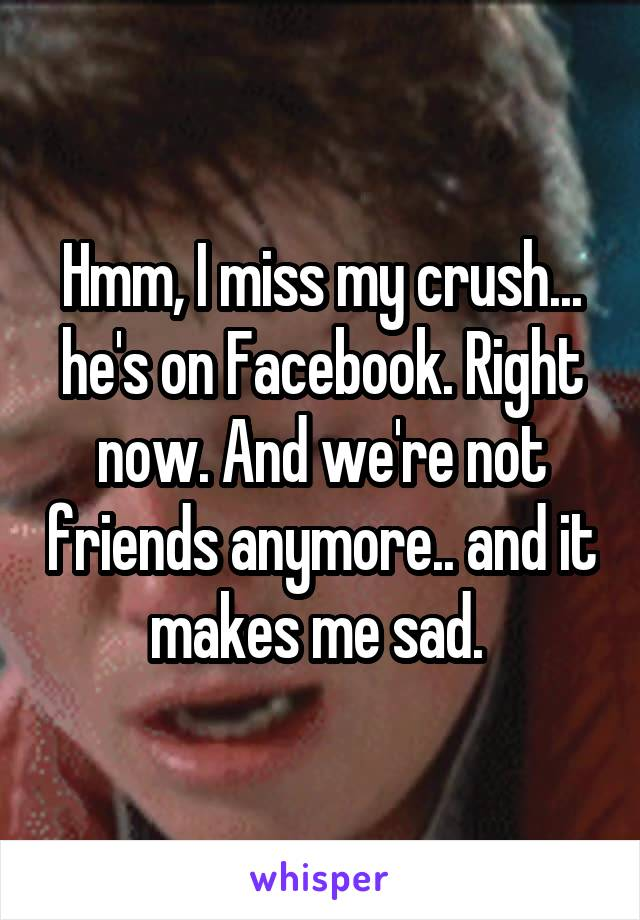 Hmm, I miss my crush... he's on Facebook. Right now. And we're not friends anymore.. and it makes me sad.