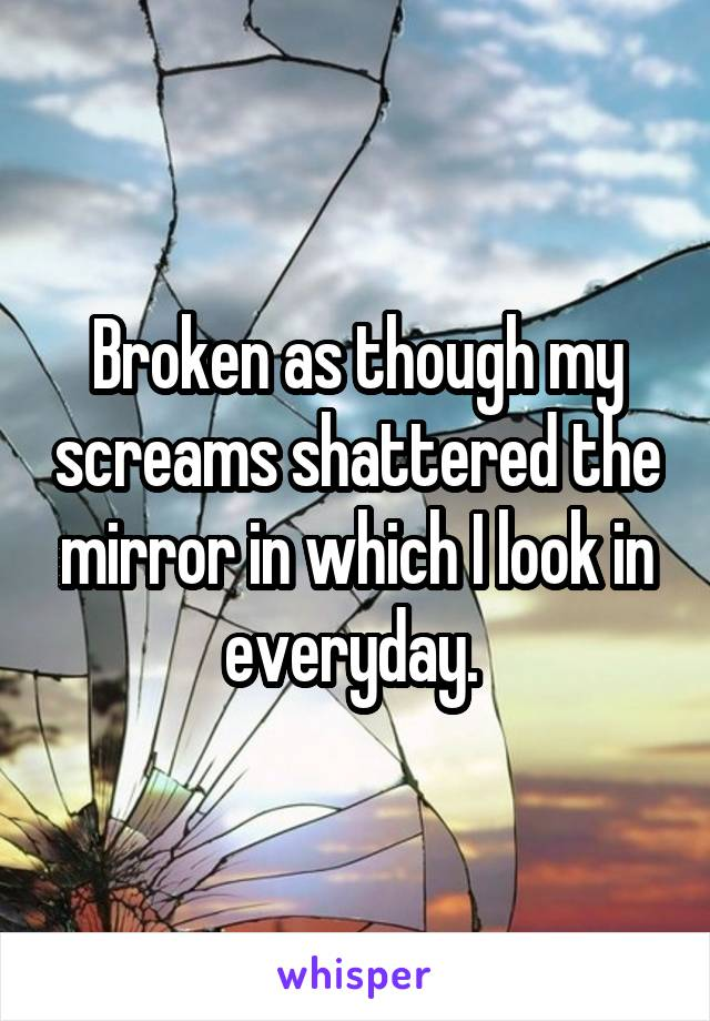 Broken as though my screams shattered the mirror in which I look in everyday.