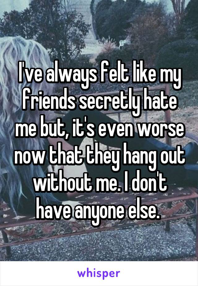 I've always felt like my friends secretly hate me but, it's even worse now that they hang out without me. I don't have anyone else.