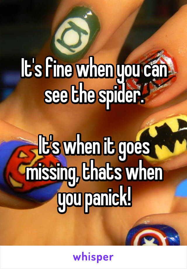 It's fine when you can see the spider.  It's when it goes missing, thats when you panick!