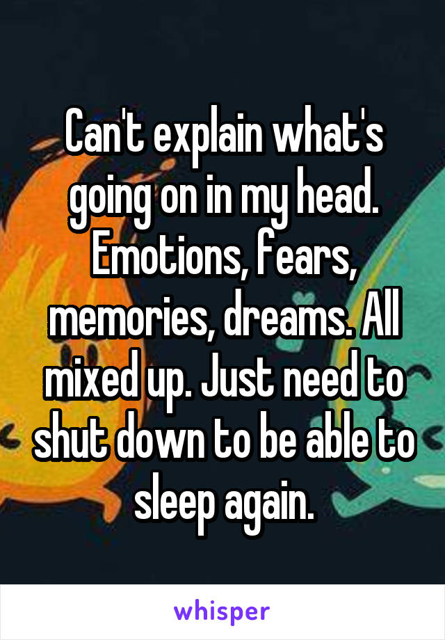 Can't explain what's going on in my head. Emotions, fears, memories, dreams. All mixed up. Just need to shut down to be able to sleep again.