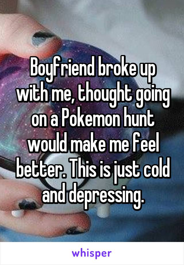 Boyfriend broke up with me, thought going on a Pokemon hunt would make me feel better. This is just cold and depressing.