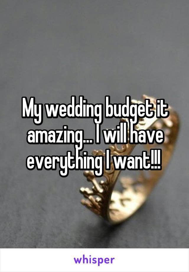 My wedding budget it amazing... I will have everything I want!!!