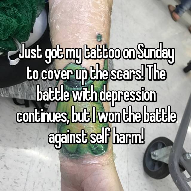 Just got my tattoo on Sunday to cover up the scars! The battle with depression continues, but I won the battle against self harm!