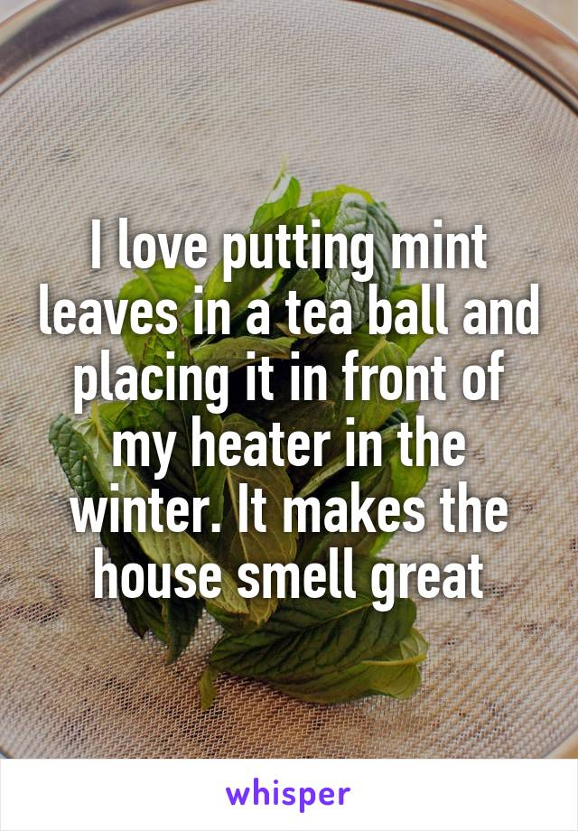 I love putting mint leaves in a tea ball and placing it in front of my heater in the winter. It makes the house smell great