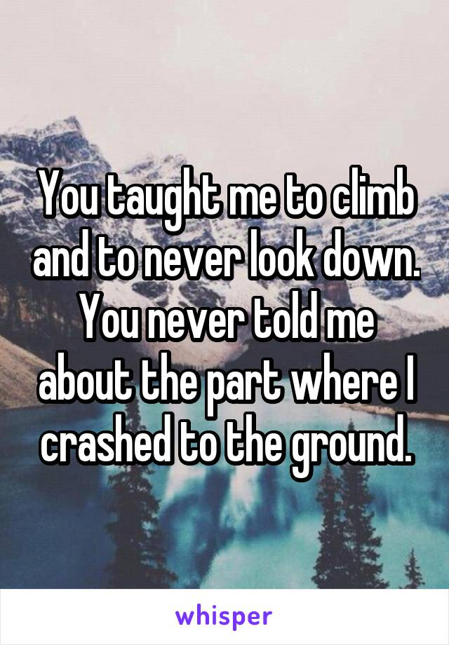 You taught me to climb and to never look down. You never told me about the part where I crashed to the ground.
