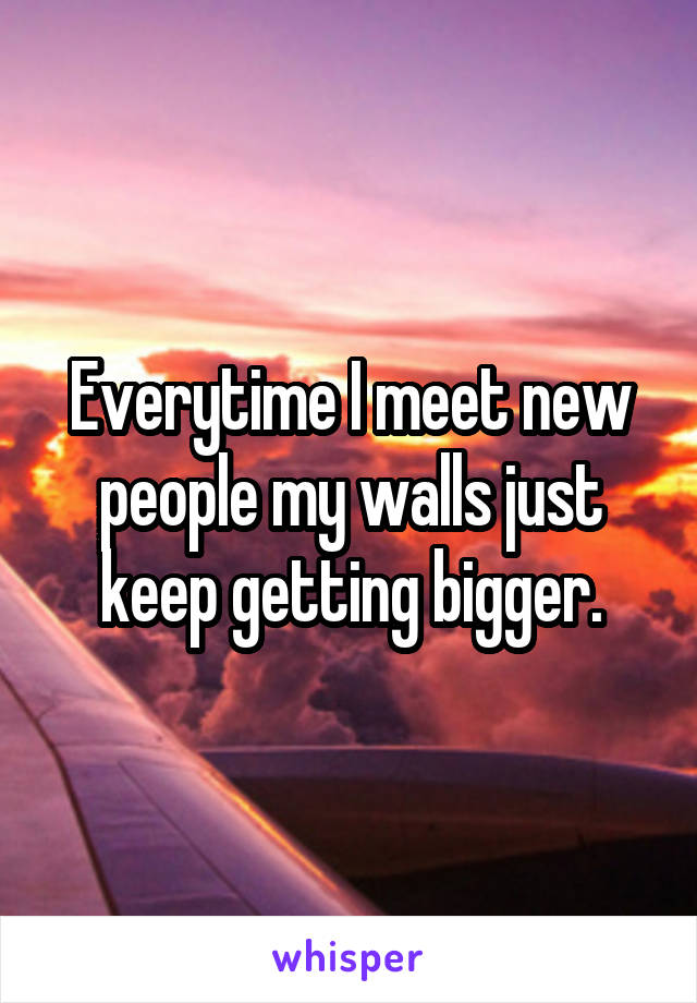 Everytime I meet new people my walls just keep getting bigger.