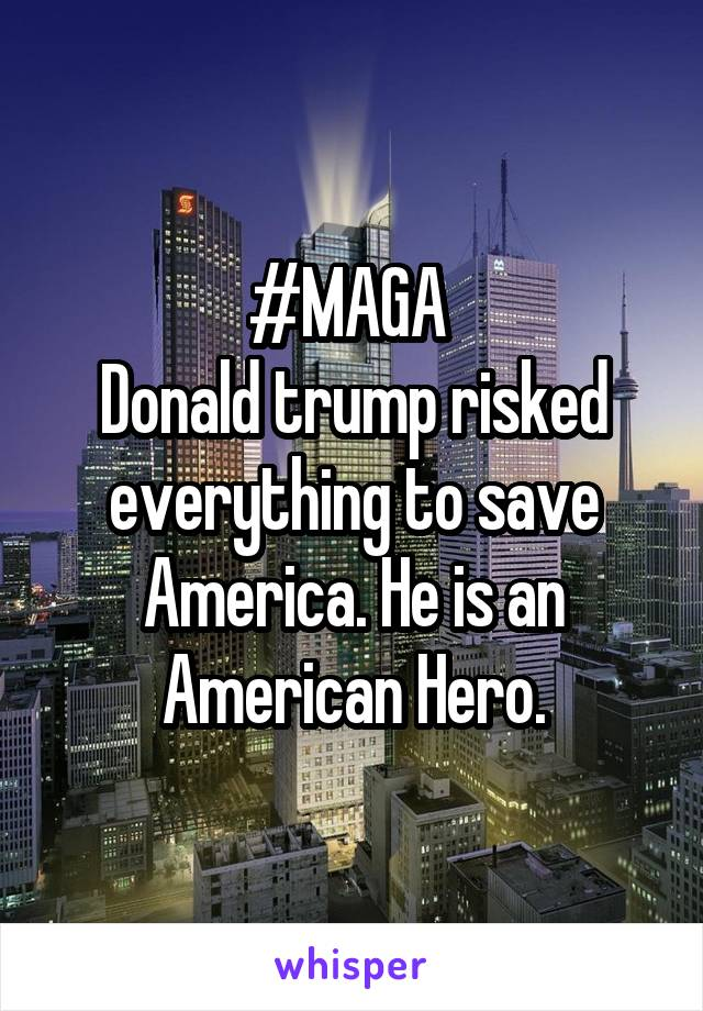 #MAGA  Donald trump risked everything to save America. He is an American Hero.