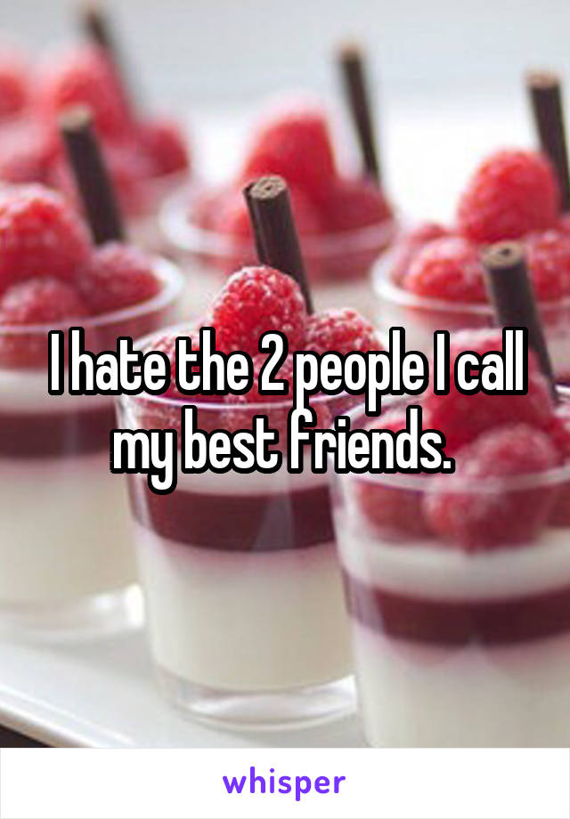 I hate the 2 people I call my best friends.