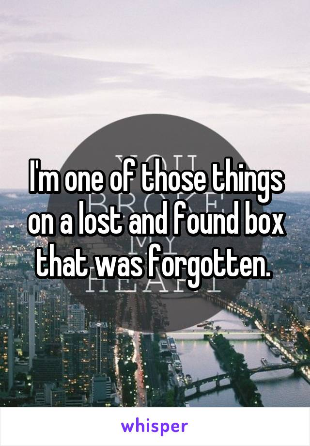 I'm one of those things on a lost and found box that was forgotten.