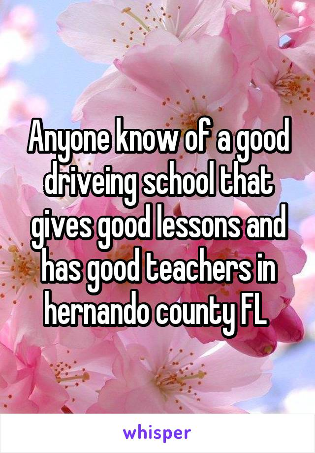 Anyone know of a good driveing school that gives good lessons and has good teachers in hernando county FL