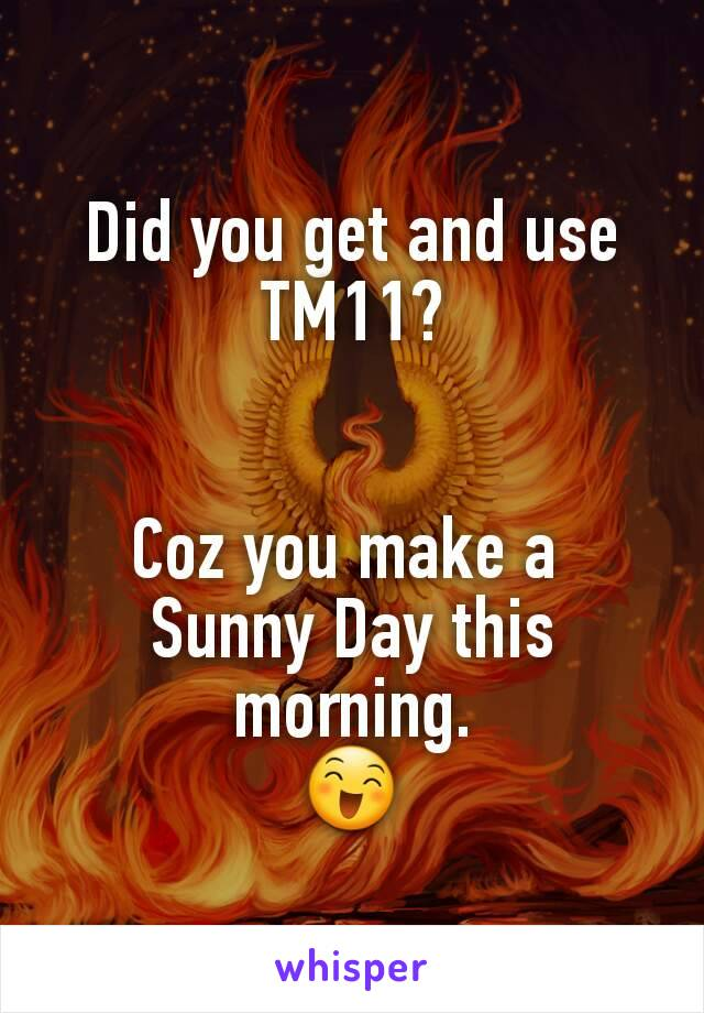 Did you get and use TM11?   Coz you make a  Sunny Day this morning. 😄