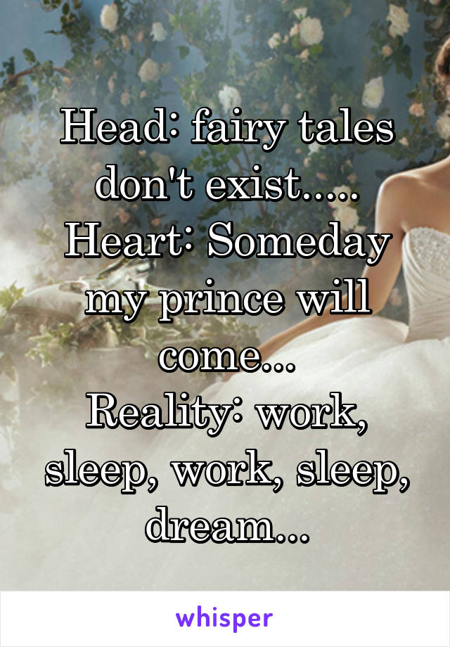 Head: fairy tales don't exist..... Heart: Someday my prince will come... Reality: work, sleep, work, sleep, dream...