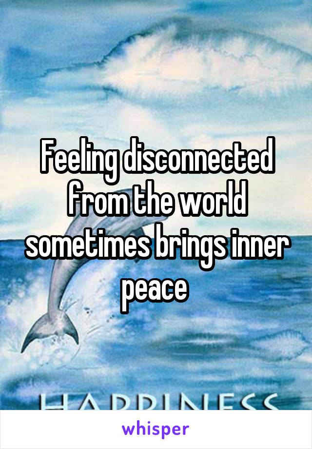 Feeling disconnected from the world sometimes brings inner peace