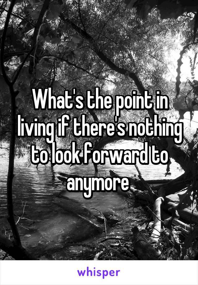 What's the point in living if there's nothing to look forward to anymore