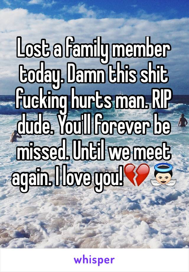 Lost a family member today. Damn this shit fucking hurts man. RIP dude. You'll forever be missed. Until we meet again. I love you!💔👼🏻