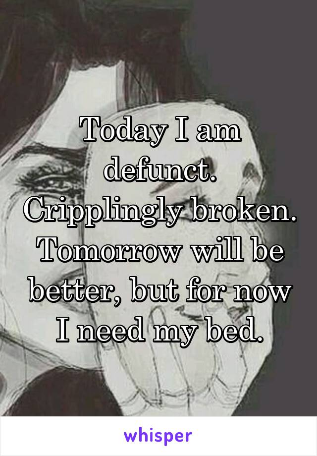 Today I am defunct. Cripplingly broken. Tomorrow will be better, but for now I need my bed.