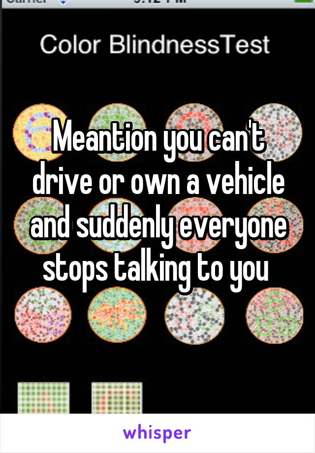 Meantion you can't drive or own a vehicle and suddenly everyone stops talking to you