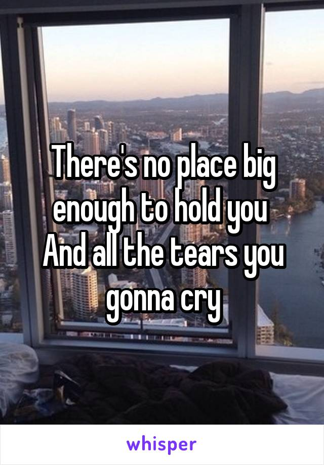 There's no place big enough to hold you  And all the tears you gonna cry