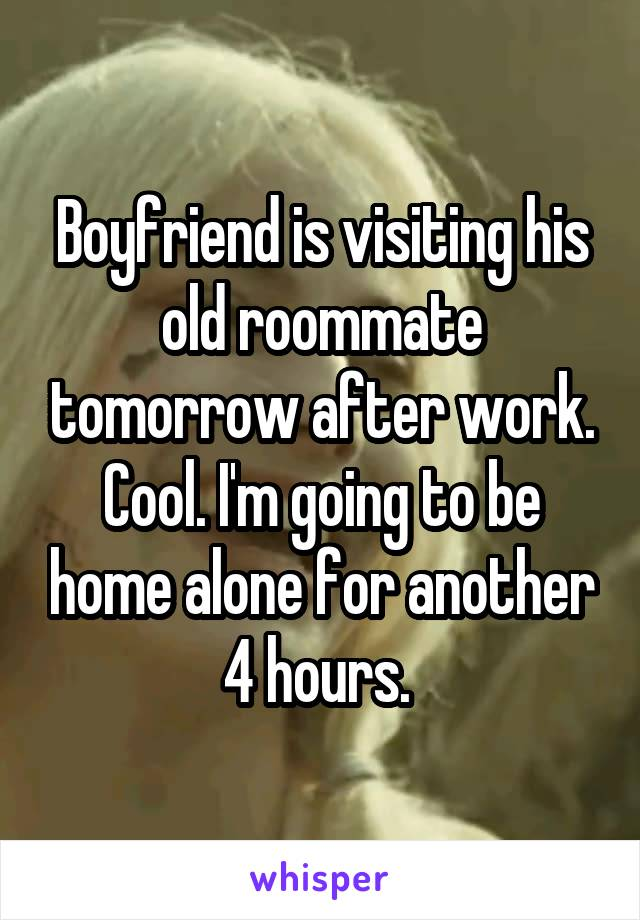 Boyfriend is visiting his old roommate tomorrow after work. Cool. I'm going to be home alone for another 4 hours.