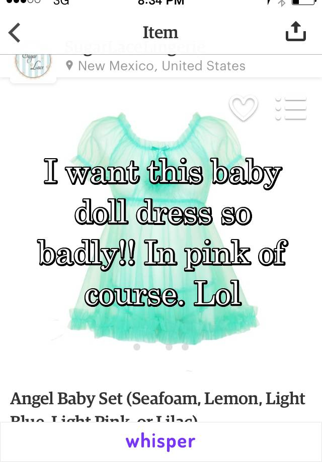 I want this baby doll dress so badly!! In pink of course. Lol