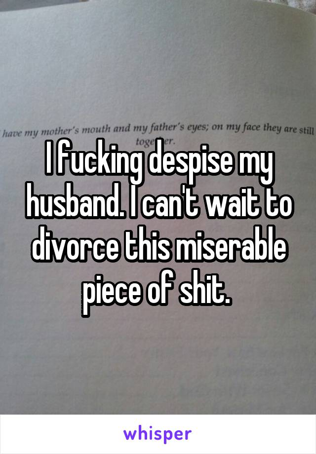 I fucking despise my husband. I can't wait to divorce this miserable piece of shit.
