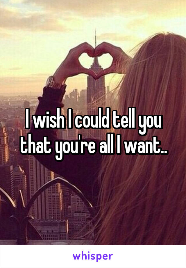 I wish I could tell you that you're all I want..
