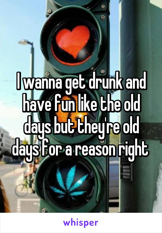 I wanna get drunk and have fun like the old days but they're old days for a reason right